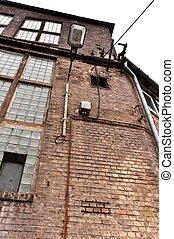 tiro ângulo, de, um, edifício industrial
