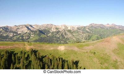 tiro aéreo, de, floresta verde, e, montanhas, e, neve, remendos
