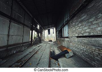 tiro, abandonado, ángulo, industrial, pasillo
