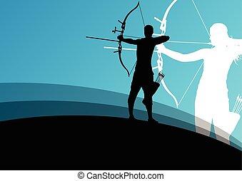 tiro al arco, mujer, resumen, joven, siluetas, activo, deporte, hombre