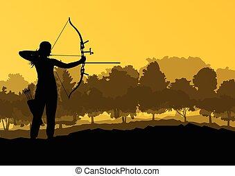 tiro al arco, silueta, naturaleza, conc, vector, plano de...