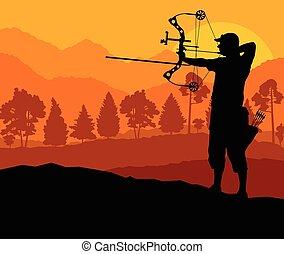 tiro al arco, silueta, naturaleza, conc, vector, plano de fondo, activo, deporte