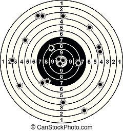 tiro, alvo, bala, ilustração, gama, vetorial, tiroteio, holes.