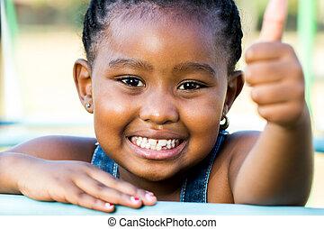 tiro, arriba, cara, pulgares, africano, niña, outdoors.