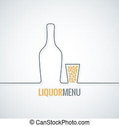 tiro, botella, licor, vidrio, vector, diseño, plano de fondo
