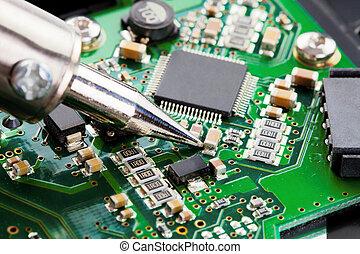 tiro, cima, microcircuito, estúdio, ferro, soldering, fim