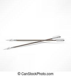 tiro com arco, branca, setas, isolado, fundo