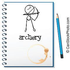 tiro com arco, caderno, desenho
