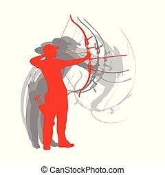 tiro com arco, cartaz, vetorial, fundo, desporto, homem