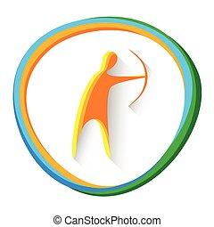 tiro com arco, competição, jogo, arqueiro, logotipo, ...