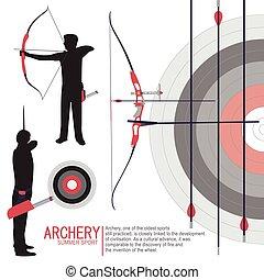 tiro com arco, desporto, silhuetas, ilustração, vetorial