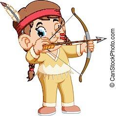 tiro com arco, indian americano, menina, tocando