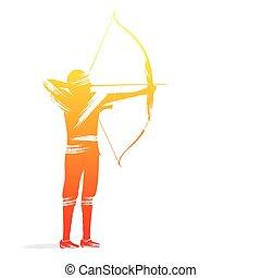tiro com arco, jogador, desenho