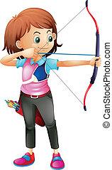 tiro com arco, menina, jovem, tocando