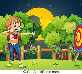 tiro com arco, menina, tocando