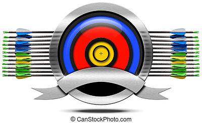 tiro com arco, metal, ícone