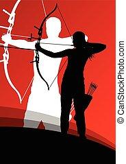 tiro com arco, mulher, abstratos, jovem, silhuetas, ativo,...