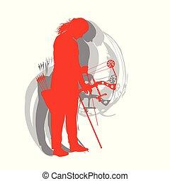 tiro com arco, mulher, cartaz, vetorial, fundo, desporto