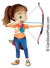 tiro com arco, mulher, jovem, tocando