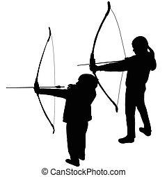 tiro com arco, silhuetas, jogar crianças