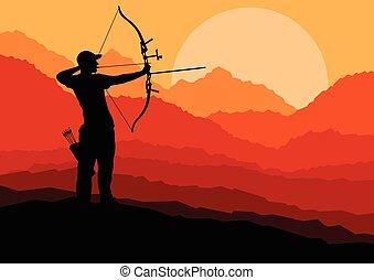 tiro com arco, silueta, natureza, conc, vetorial, fundo, ...