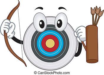 tiro com arco, tábua, mascote