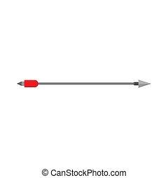 tiro con l'arco, concetto, arma, segno, apparecchiatura, vettore, freccia rossa, icon., elemento, arco