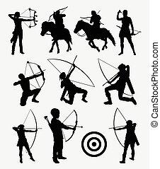 tiro con l'arco, freccetta, silhouette, persone