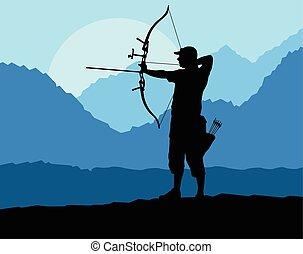 tiro con l'arco, silhouette, natura, conc, vettore, fondo,...
