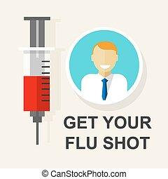 tiro, conseguir, vacunación, gripe, ilustración, vector, su, vacuna