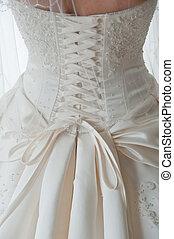 tiro, costas, detalhe, ata, vestido casamento