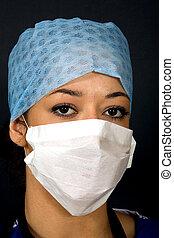 tiro de la cabeza el an o 80, de, un, doctor, /, cirujano, /, nurse.