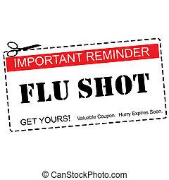 tiro de la gripe, recordatorio, cupón, concepto