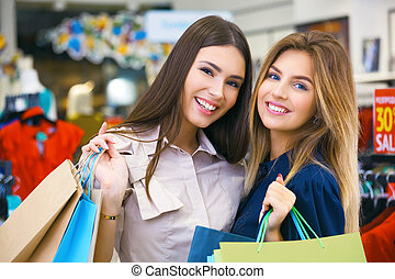 tiro, de, um, bonito, mulheres jovens, ir, shopping.