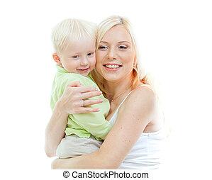 tiro, dela, isolated., levando, mãe, arms., estúdio, criança, adorável, feliz