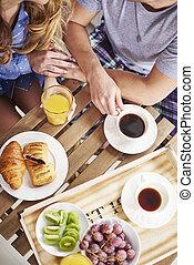 tiro, directamente, pareja, sobre, durante, desayuno