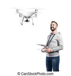 tiro, drone., vuelo, aislado, plano de fondo, estudio,...
