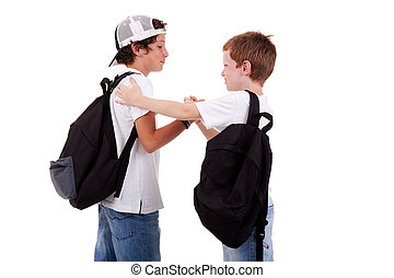 tiro, escuela, otro, saludo, uno, niños, espalda, yendo, estudio, blanco, vistos