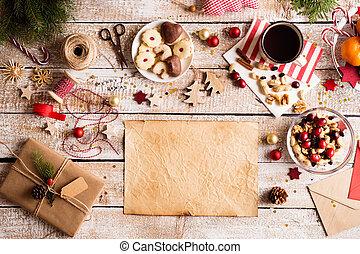 tiro, espacio, de madera, navidad, copia, fondo., ...