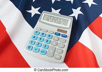 tiro estúdio, de, despenteado, bandeira nacional, com, calculadora, sobre, aquilo, -, eua