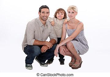 tiro estúdio, família jovem