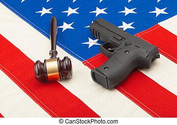 tiro, estados unidos de américa, de madera, encima,  -, arma de fuego, juez, bandera, estudio, martillo
