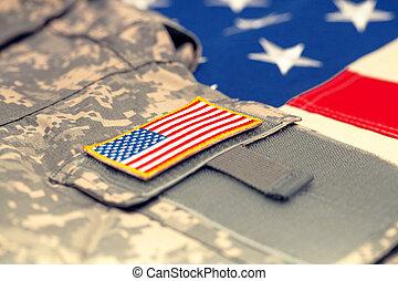 tiro, eua, exército, sobre, -, aquilo, uniforme, bandeira, estúdio