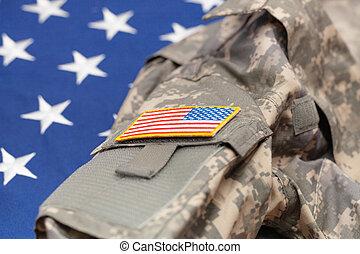 tiro, eua, exército, sobre, -, uniforme, bandeira, estúdio, nacional