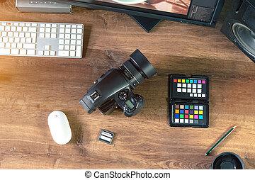 tiro, foto, computador portatil, moderno, Escritorio,...