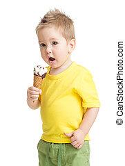 tiro, isolado, gelo, estúdio, filho comendo, branca, creme, ou, criança