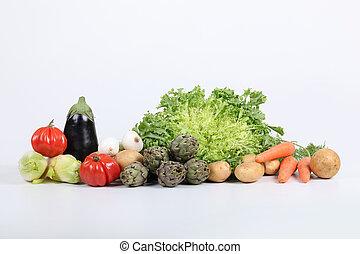 tiro largo, variedade, legumes, estúdio, fresco