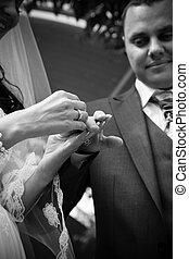 tiro, mão, noiva, closeup, casório, pôr, anel, noivo