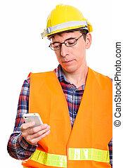 tiro, móvel, trabalhador, telefone, construção, estúdio, usando, homem