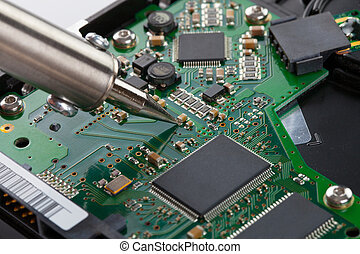 tiro, -, microcircuito, estúdio, ferro, soldering